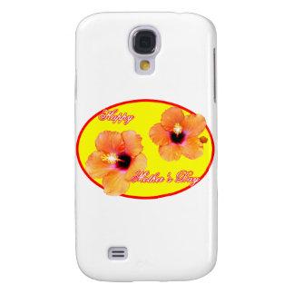 Coque Galaxy S4 Ovale rouge de mère du jour de jaune heureux de