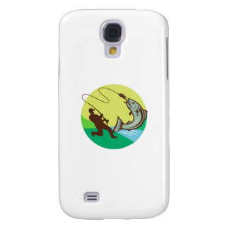 Coque Galaxy S4 Pêcheur de mouche accrochant le cercle saumoné