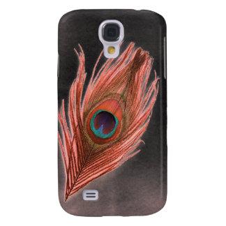 Coque Galaxy S4 Plume rouge de paon sur le noir