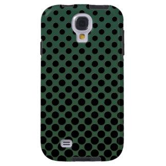 Coque Galaxy S4 Pois noir de cascade sur vert-foncé