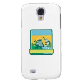 Coque Galaxy S4 Rectangle saumoné contagieux de tasse de pêcheur