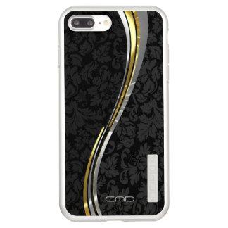 Coque Incipio DualPro Shine iPhone 8 Plus/7 Plus Damassés noires décorées d'un monogramme argent et