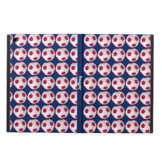 Coque iPad Air ballons de football de caisse, de rouge, blancs et