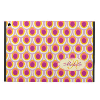 Coque iPad Air Caisse rose jaune de folio d'ipad modelée par paon