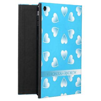 Coque iPad Air Coeurs bleus assez petits. Ajoutez votre propre