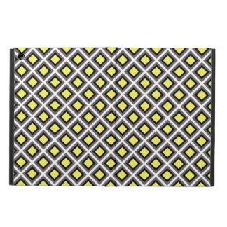 Coque iPad Air Diamants gris-foncé, noirs, jaunes d'Ikat par