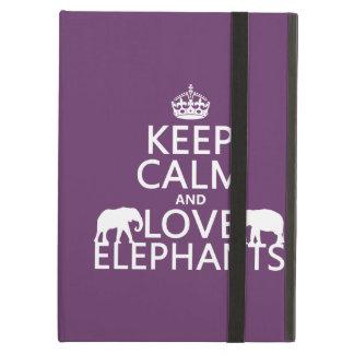 Coque iPad Air Gardez le calme et aimez les éléphants (toute