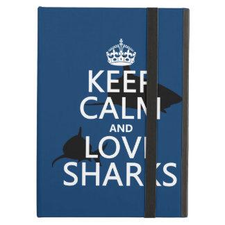 Coque iPad Air Gardez le calme et aimez les requins (les couleurs