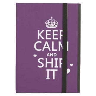 Coque iPad Air Gardez le calme et embarquez-le (les coeurs) (dans