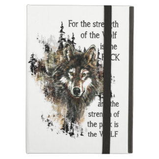 Coque iPad Air Logo sauvage de tête de loup de citation de meute