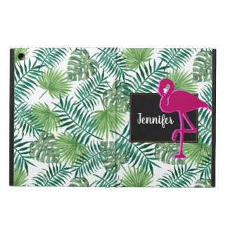 Coque iPad Air Motif tropical de feuille et flamant rose