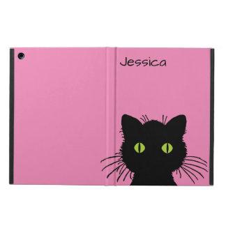 Coque iPad Air Nom personnalisé aux yeux verts curieux de chat