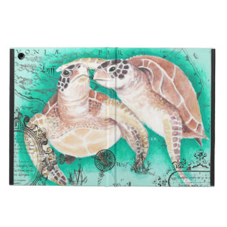 Coque iPad Air Tortues de mer turquoises