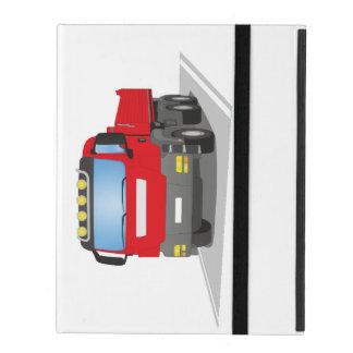 Coque iPad chantiers camion rouges
