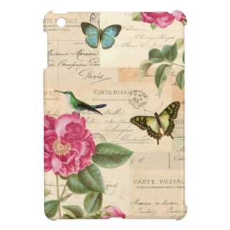 Coque ipad floral girly vintage avec l'oiseau et