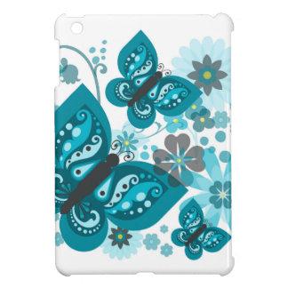 Coque iPad Mini Cas d'iPad (bleu) de papillons et de fleurs mini