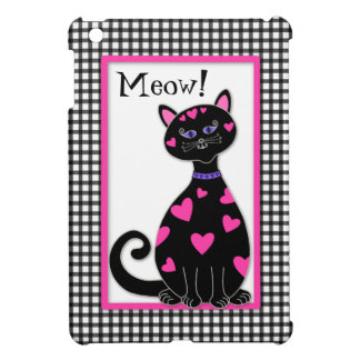 Coque iPad Mini Chat lunatique de coeurs - Meow
