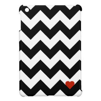 Coque iPad Mini Coeur & Chevron - Noir/Rouge Classique