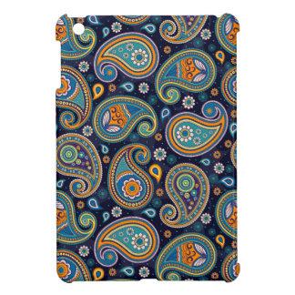Coque iPad Mini Élégant bleu et orange de motif de Paisley