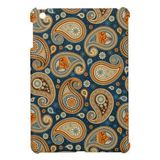 Coque iPad Mini Élégant orange turquoise bleu de motif de Paisley