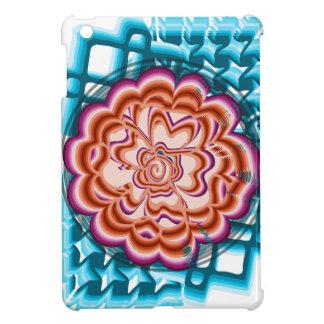 Coque iPad Mini Fleur sur l'arrière - plan géométrique bleu