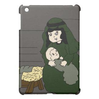 Coque iPad Mini Mary et Jésus en vert