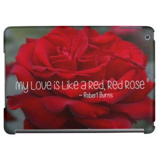 coque ipad mon rose rouge d'amour