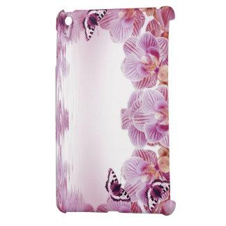 Coque ipad rose d'orchidées et de papillon