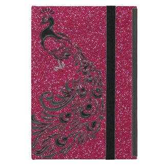 Coque ipad rose Girly moderne de paon de noir de