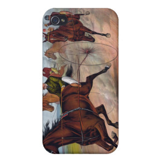 Coque iPhone 4/4S Chariot vintage de cheval emballant l'affiche