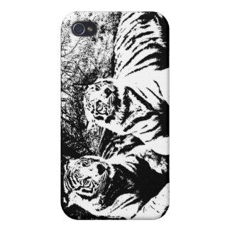 Coque iPhone 4/4S Deux tigres en noir et blanc