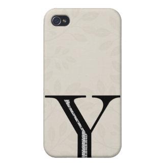 Coque iPhone 4/4S Lettre Y - noir de damassé