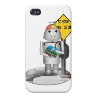 Coque iPhone 4/4S Robox9 à l'arrêt d'autobus - de nouveau à l'école