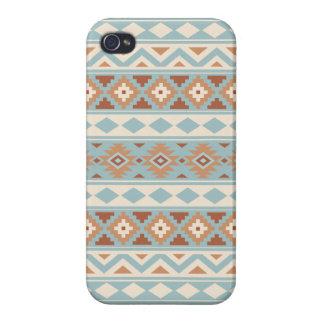 Coque iPhone 4/4S Terres cuites crèmes bleues aztèques de Ptn IIIb