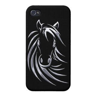 Coque iPhone 4/4S Tête de cheval argentée sur le noir