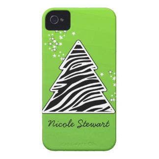 Coque iPhone 4 Arbre de Noël vert de zèbre