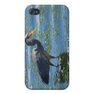 Coque iPhone 4 Art de région sauvage de pêche de héron de grand