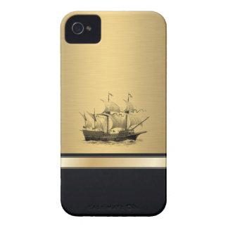 Coque iPhone 4 Bateau antique de sembler d'or attrayant chic
