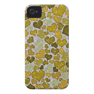 Coque iPhone 4 Case-Mate coeurs de scintillement d'or
