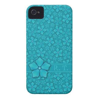 Coque iPhone 4 Case-Mate Initiales bleu-vert de monogramme de conception