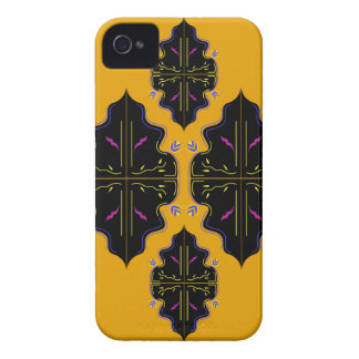 Coque iPhone 4 Case-Mate Jaune arabe de luxe de noir d'ornements