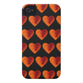 Coque iPhone 4 Case-Mate orange de motif de coeur