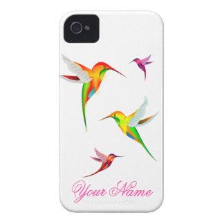 Coque iPhone 4 Colibris mignons dans des couleurs lumineuses -
