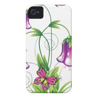 Coque iPhone 4 Fleur de jacinthe des bois avec le feuille