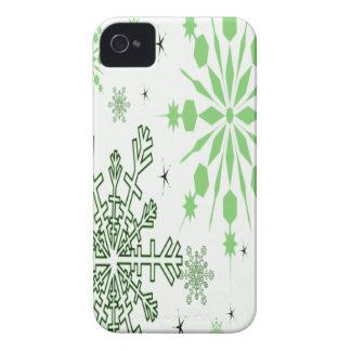 Coque iPhone 4 Flocons de neige assez verts