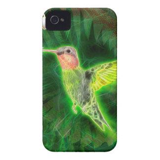 Coque iPhone 4 Fractale de colibri et de lis