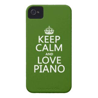 Coque iPhone 4 Gardez le calme et aimez le piano (toute couleur