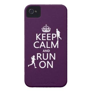 Coque iPhone 4 Gardez le calme et courez sur (les couleurs