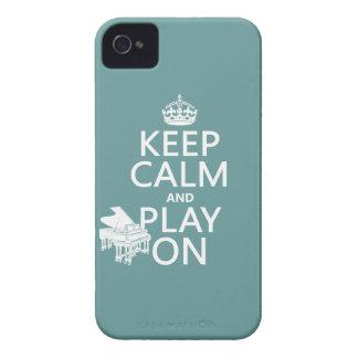 Coque iPhone 4 Gardez le calme et le jeu sur (piano) (toute