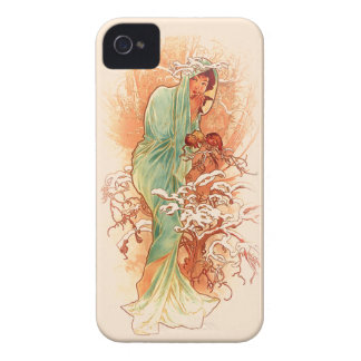 Coque iPhone 4 Hiver - art Nouveau d'Alphonse Mucha